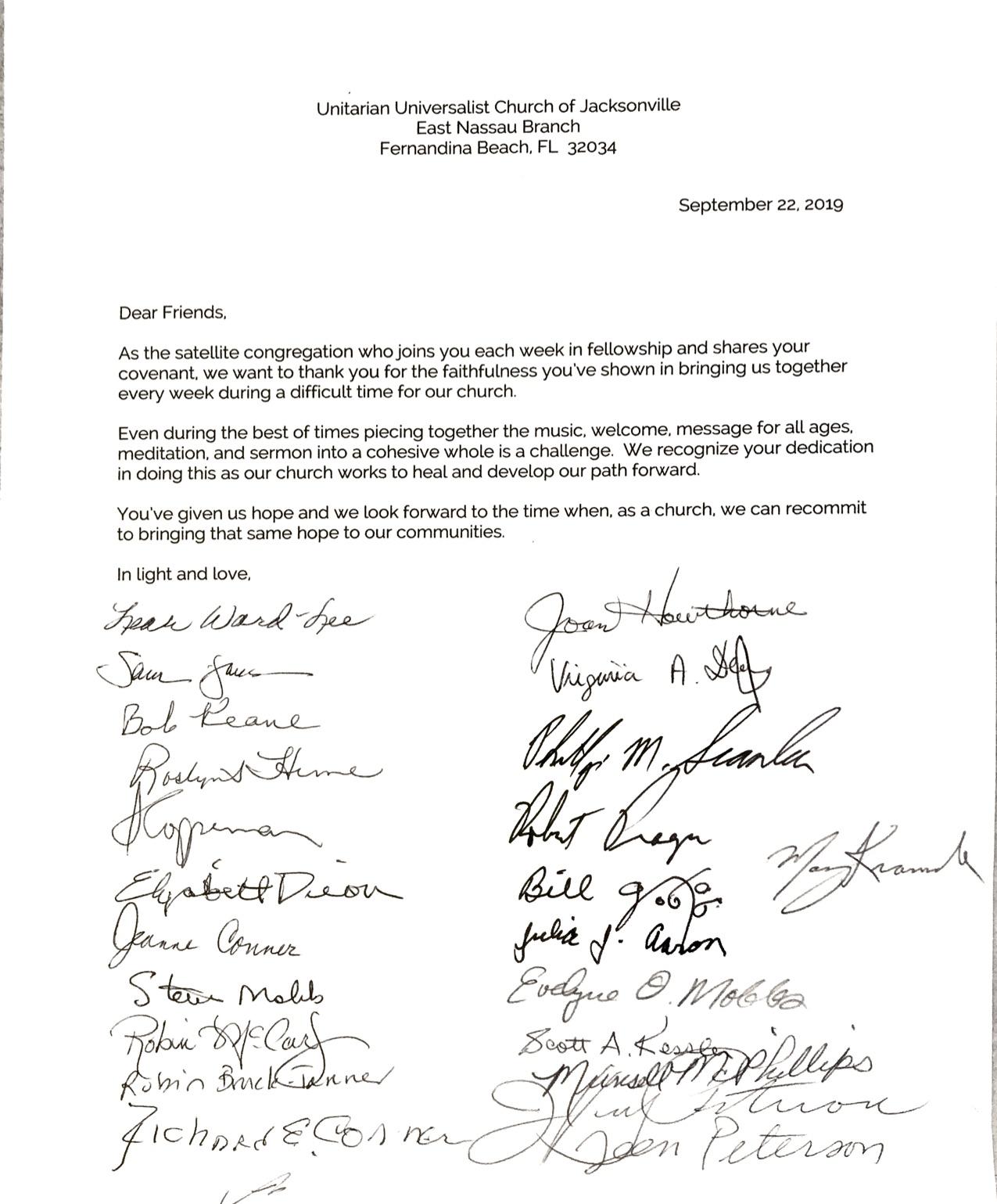 East Nassau Letter